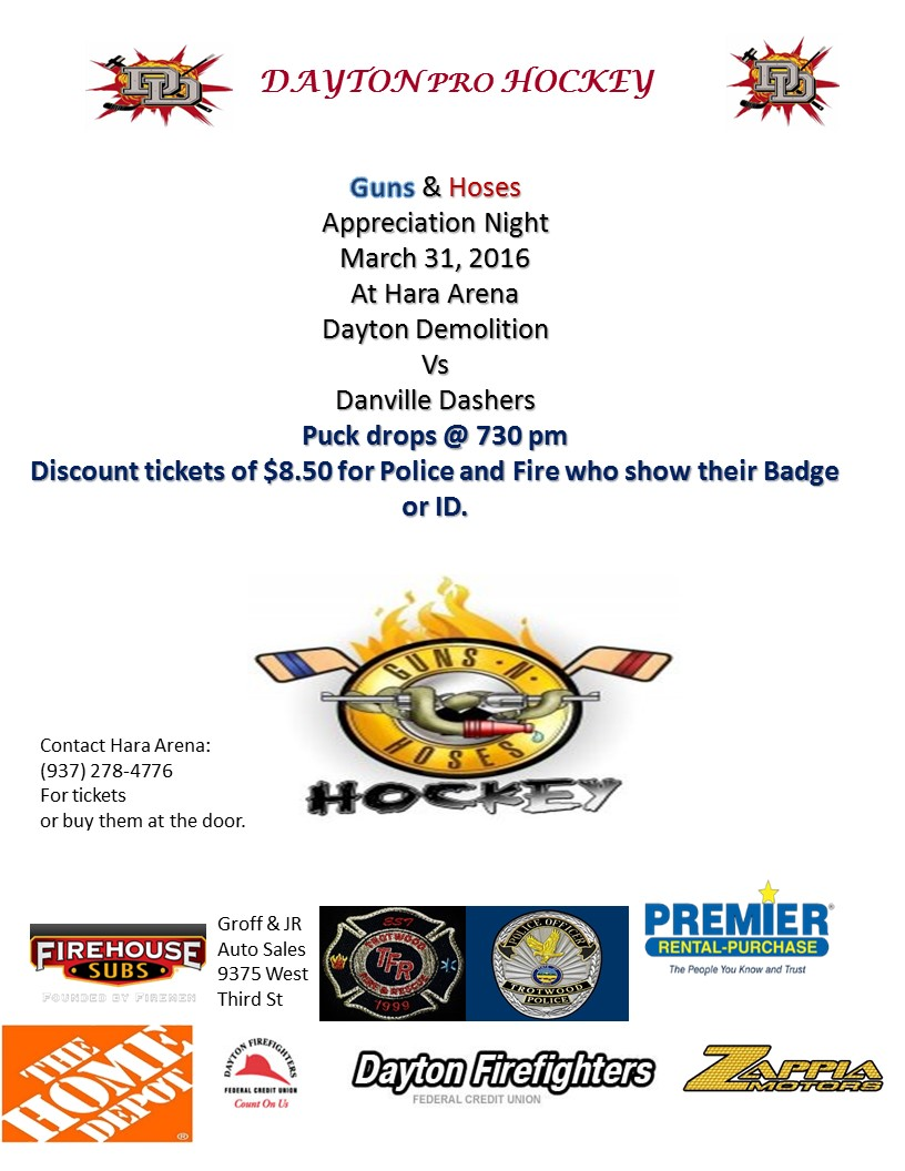 2016 Dayton Demolition Hockey Public Safety night